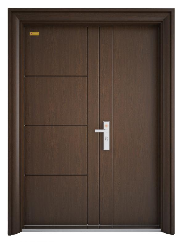 Cửa thép vân gỗ cánh lệch  - GS3H10